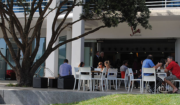 PUBLIC SPACE: Jam Cafe's diners share their tables on Hurstmere Green with the public.
