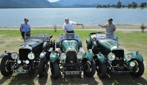 Peter Graham, of Perth, and his 4.5-litre 1927 model, Steve Sverdioff, of Britain, and his 3-litre 1925 model, and Cedric Cook, of Britain, with his 4.5-litre 1928 model are among the group of Bentley enthusiasts in the south for a tour.