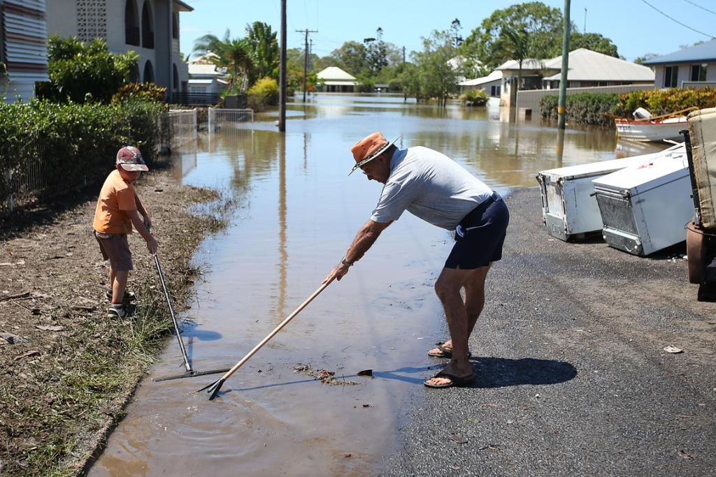 The flood waters peaked at 9.53 metres in Bundaberg but have now begun receding, meaning locals residents and relief teams can start the clean-up.