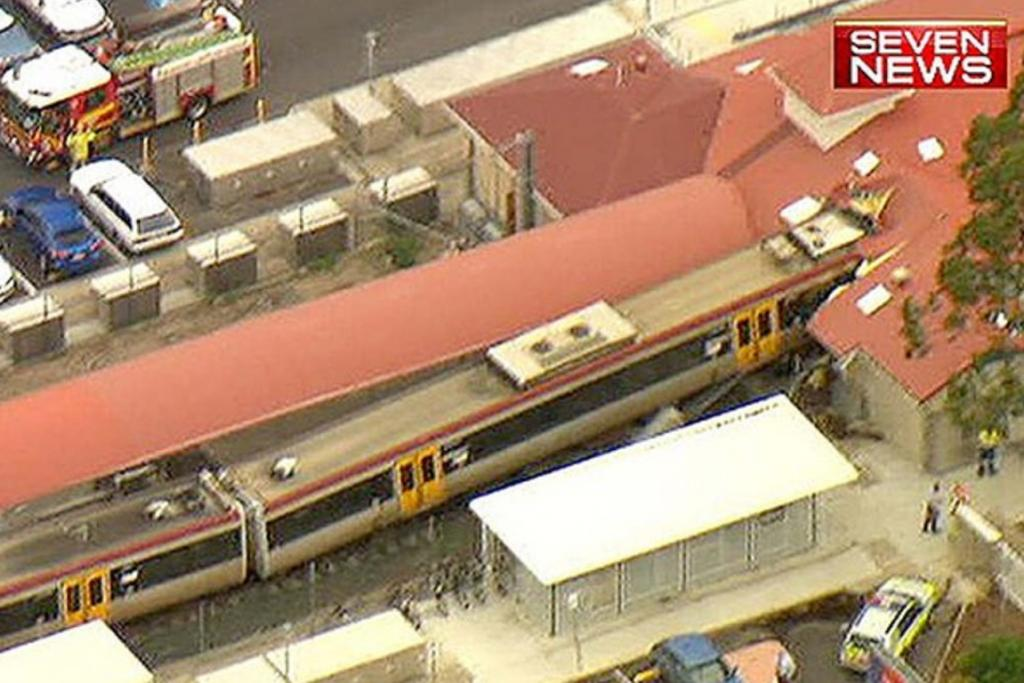 An aerial view of the crash at Cleveland Station from Australia's Channel Seven.