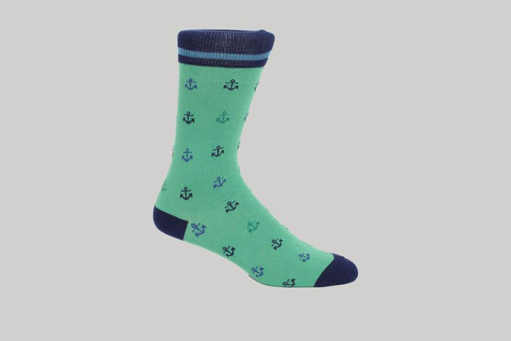 """Anchor socks, $12.99 from Barker: """"Even the most conservative of chaps must (surely) want to wear crazy things sometimes - even if nobody sees them. Pop these puppies inside your business shoes and feel like you're having a private party all day long."""""""