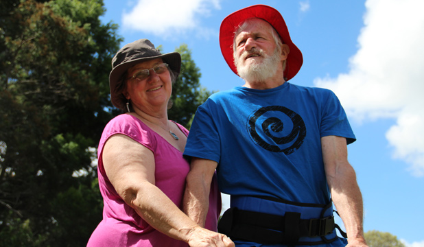 UNITED COUPLE: William Beattie who suffers from Progressive supranuclear palsy is attempting the Auckland Coast to Coast walk with his wife Kara Wishart Beattie.