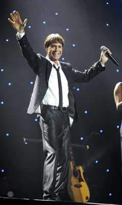 FULL VOICE: British music legend Sir Cliff Richard entertains fans at CBS Canterbury Arena in Christchurch last night.