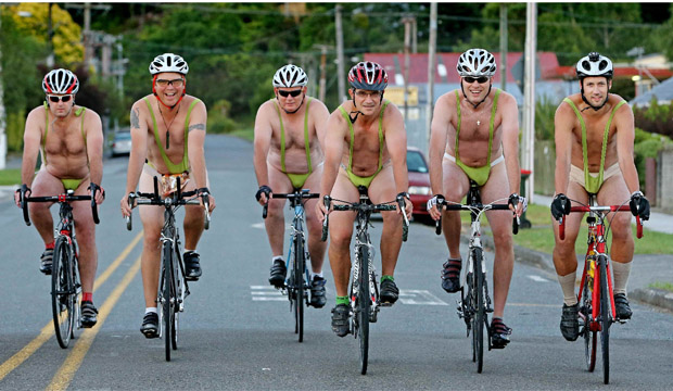 THE BIG REVEAL: A group of cyclists donned Borat-style mankinis when they hit the road for their daily commute from Silverstream to Wellington today.