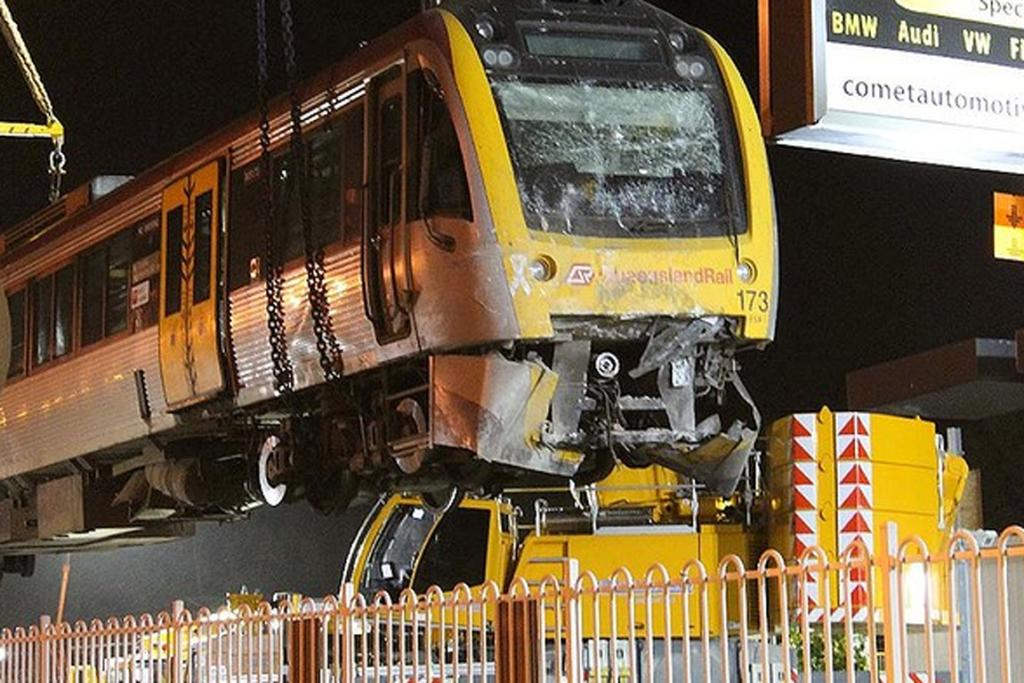 The extent of the damage to the train can be seen as it is pulled out of the Brisbane station.