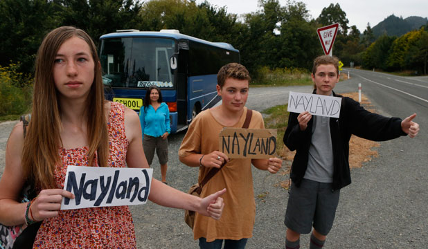 NOT HAPPY: Sophie Price, left, Daniel Vincent and Caleb Box are Nayland College students who live at Hira whose families face a big increase in the bus fare to get to school.