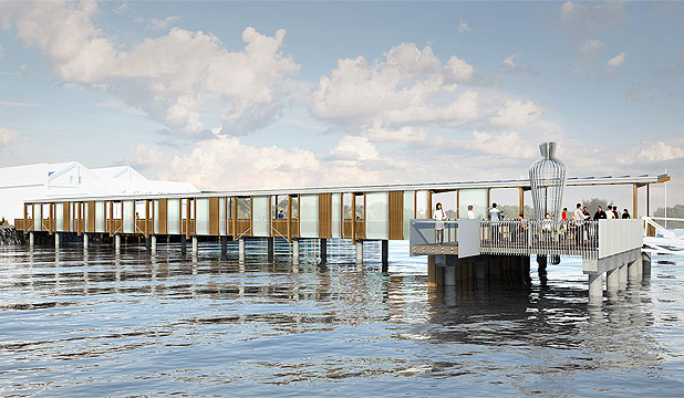ALL ABOARD: An artist's impression of the Hobsonville wharf ferry terminal that opens this weekend.