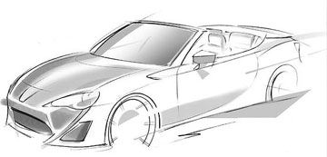 Toyota's design sketch of the Toyota 86 convertible concept.