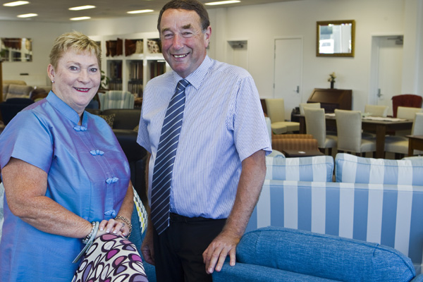 Denise and Timothy Glubb, owners of Tillmans Fine Furniture, at their new Somerfield home.