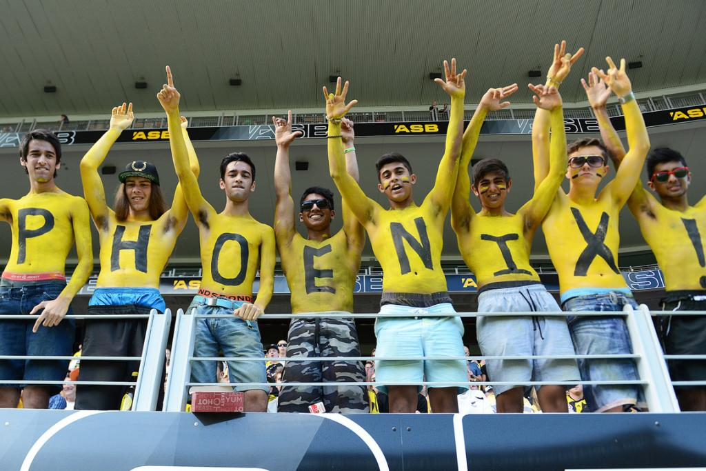 Phoenix fans show their support at Eden Park.