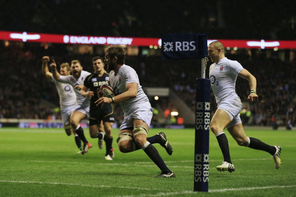 Geoff Parling of England goes over to score.