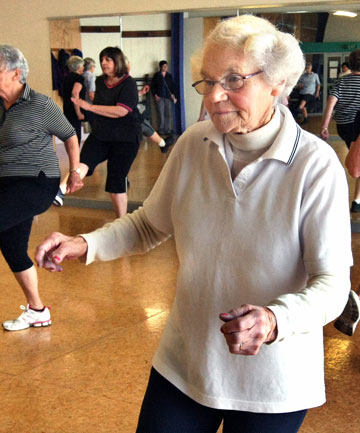 Triss Fyfe, 89, in the Easy Combo Aerobics Class at the YMCA.