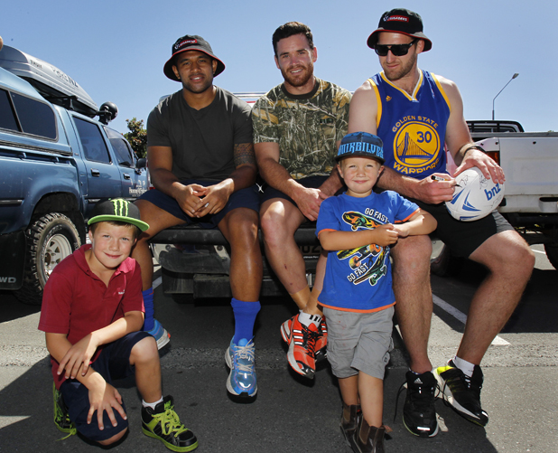 Blake Timms, 8, Jeremy Su'a, Ryan Crotty, Kayd Timms, 3, and Kieran Read.
