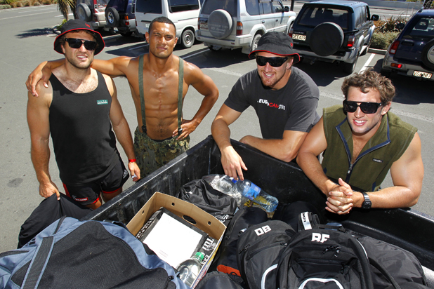 Pictured outside Hunting and Fishing shop in Kaikoura: Luke Whitelock, Robbie Fruean, Dominic Bird and Tom Taylor