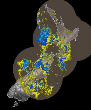 DOWNPOURS: Rain covers parts of both the North and South islands in this 11.58am radar image from MetService.