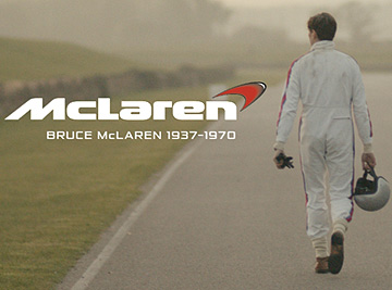 "The ""ghost"" of New Zealand's Bruce McLaren walks the Goodwood track after his death in a scene from the first of three video clips marking McLaren's 50th anniversary."