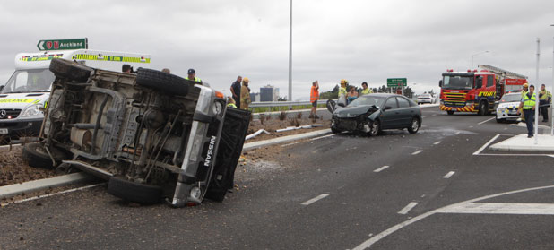 SMASH: The vehicles after the collision on an off-ramp from the Te Rapa section of the Waikato Expressway.