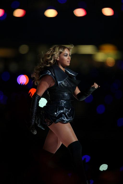 Singer Beyonce performs during the Pepsi Super Bowl XLVII Halftime Show.