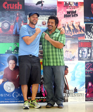 PALS: Old mates Mark Albiston, left, and Louis Sutherland directed the Kapiti Coast-shot film Shopping.