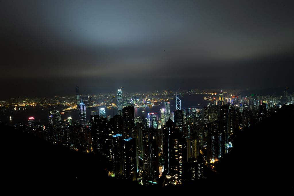 A view of Hong Kong harbour and financial area from the peak.