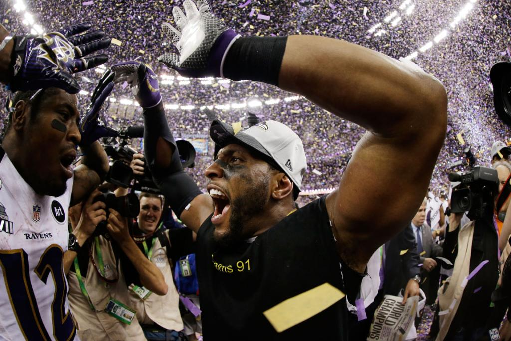 Ray Lewis of the Baltimore Ravens celebrates his team's victory over San Fransisco in the Super Bowl.
