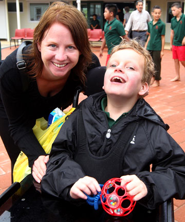 Michelle Bos and her son Ryan at the opening of new special education unit at Melville Primary