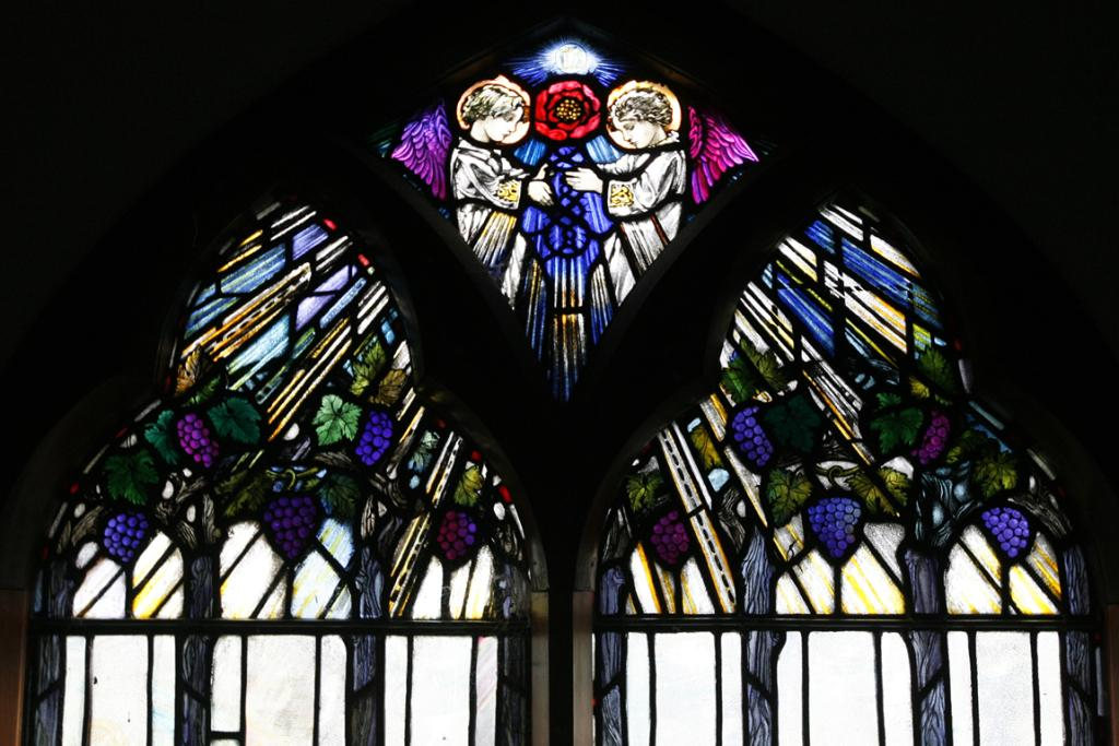 ROSE TINTED: English artist Veronica Whall created this altar window. The window was donated by a Mrs Burdon in 1925, in memory of her friend Ethel H Moffat. Miss Whall was a niece of the late Mrs Moffat.