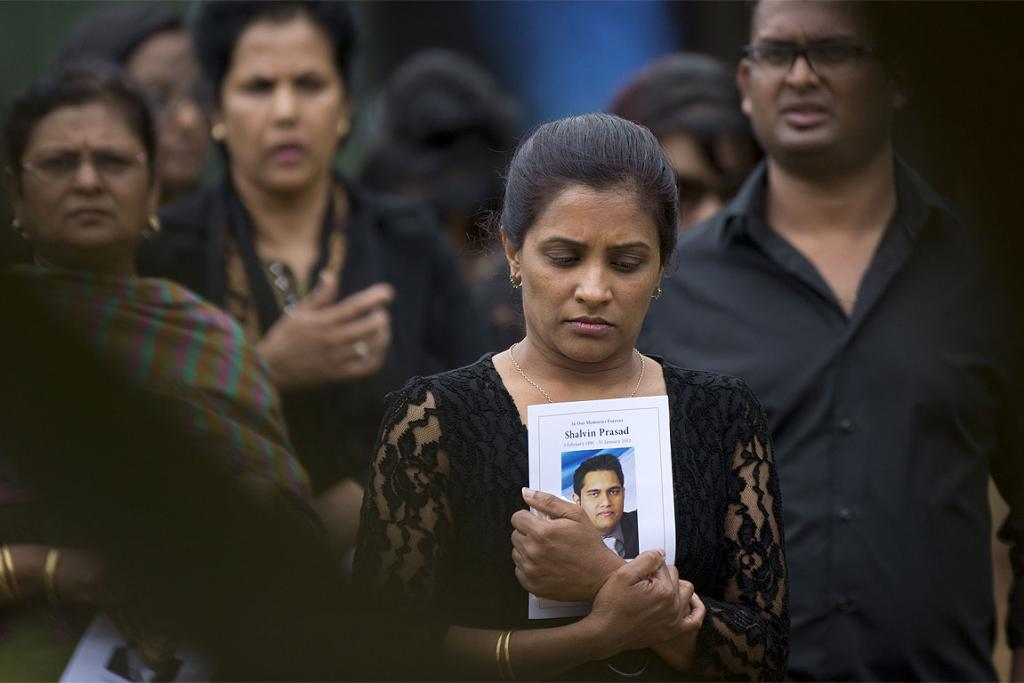 Mourners at the funeral of Shavin Prasad, who was found dead on a roadside in South Auckland.