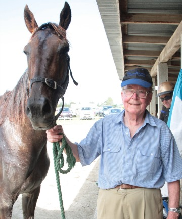 ALL SMILES: Windermere Lad and trainer Murray Faul after winning at Wyndham on Sunday.