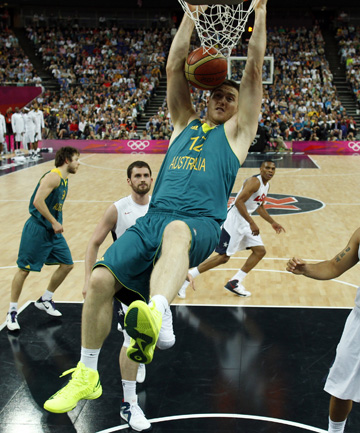 TRUE BLUE: Aron Baynes in action for Australia.