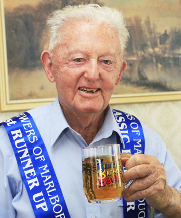 Cheers: William Montgomery, 89, is chuffed to be second in the Home Brewers of Marlborough contest.