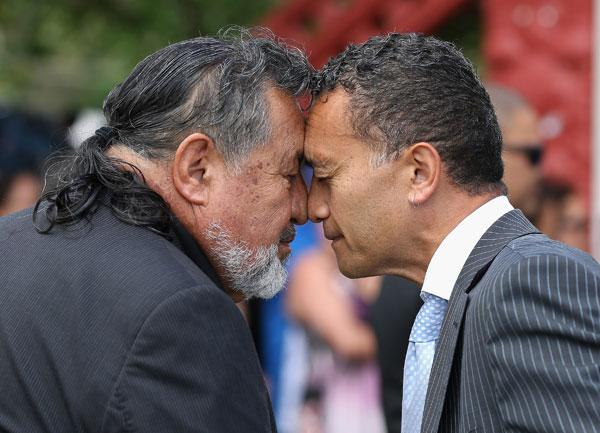 Maori Party co-leader Pita Sharples is welcomed with a hongi at Te Tii Marae on February 5, 2013 in Waitangi, New Zealand. The Waitangi Day national holiday celebrates the signing of the treaty of Waitangi on February 6, 1840 by Maori chiefs and the British Crown, that granted the Maori people the rights of British Citizens and ownership of their lands and other properties.