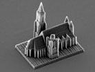 "FEBRUARY 4: A nano-scale model of Vienna's St. Stephan's Cathedral created by a 3D printing technique is photographed with an electron microscope. The figure is created by a process called ""two-photon lithography"" involving a laser beam hardening liquid resin to create micro objects of solid polymer."