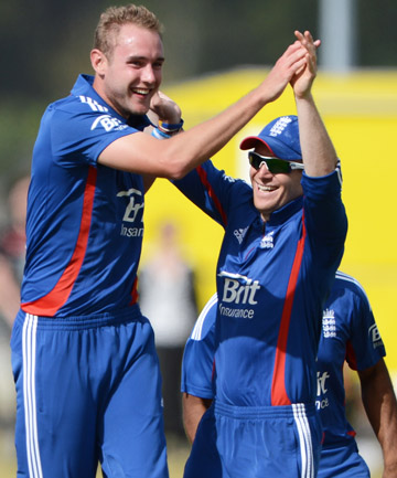 GOT HIM: Stuart Broad celebrates taking a wicket against the New Zealand XI in Whangarei.