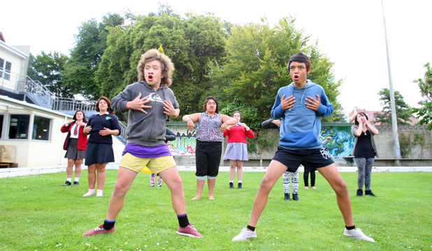 FAMILY MATTERS: Ihaia Te Wiki, left, and Metua Herbert, both 12, practise with a group at Number 10 for a mass haka today, organised to raise awareness of suicide prevention.