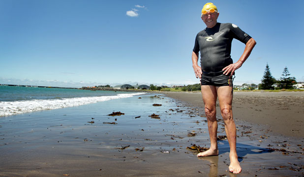 SWIMMING MASTER: New Plymouth's Keith Allum won't be setting any records but it's a good bet he will finish on time.