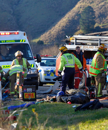 FATAL: Emergency services work at the scene of the four-car crash on State Highway 6 which killed South African man Leslie Brown.