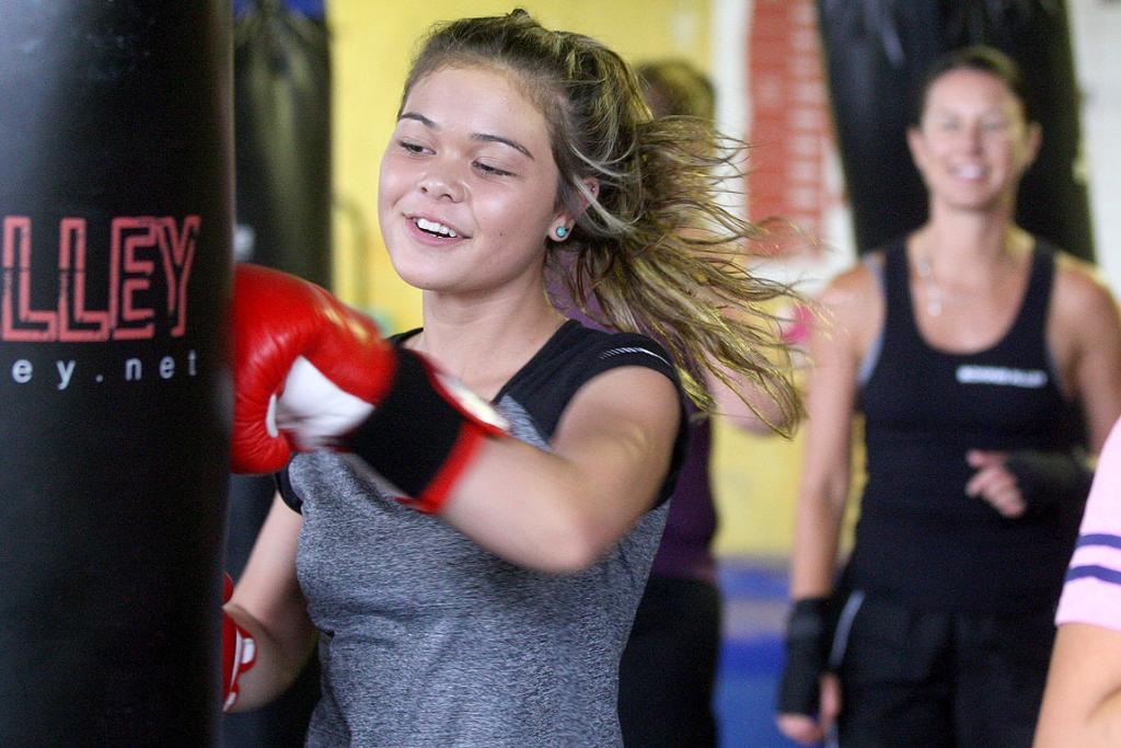 HITTING HARD: Katherine Wijohn, 12, of Weymouth, has been in the StandTall programme for the last two years.