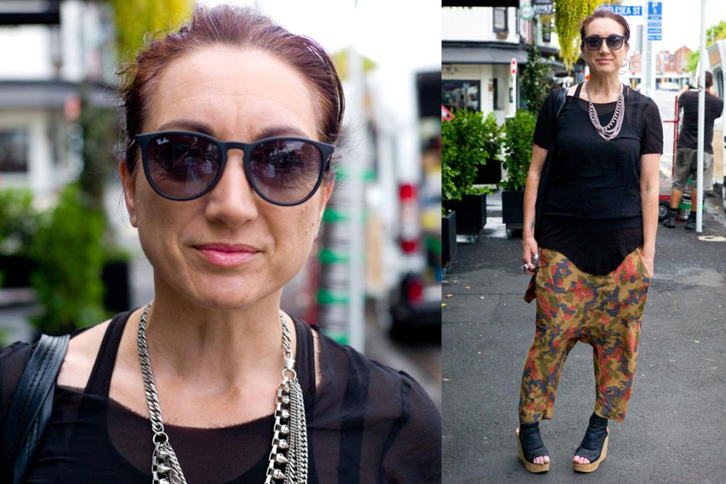 Jo wears Zambesi with Chloe shoes while strolling down Ponsonby Rd.