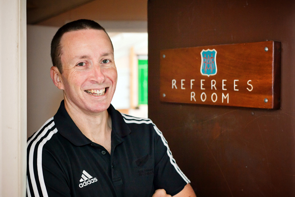 Nostalgic: Rugby referee Garratt Williamson back on home turf at the Levin Domain.