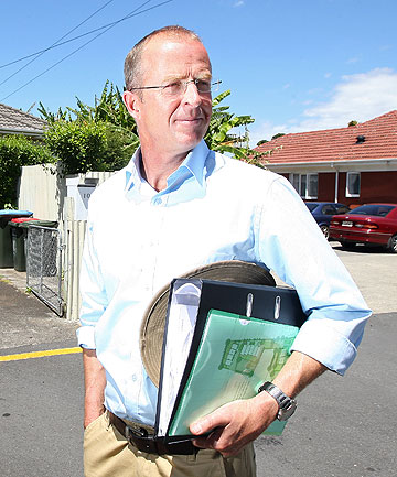 HOUSING SOLUTION: Saltburn Ltd director James Klein in Onehunga where the state houses behind him will make way for a 26 unit ''mixed tenure'' housing complex if resource consent is granted.