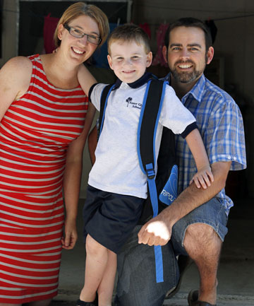 NEW CHAPTER: Megan and Andrew Stephens with their son, Lachlan, who was the 1000th baby born at Nelson Hospital in 2007 and starts his first day at Enner Glynn School today.