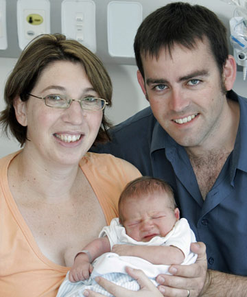 PROUD DAY: Megan and Andrew Stephens with their newly born son, Lachlan, in 2007.