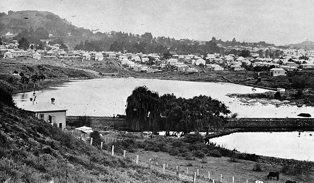 WATERY LEGACY: The flooded site of the Kingsland Cricket Club ground, pictured in 1907, later became Eden Park.