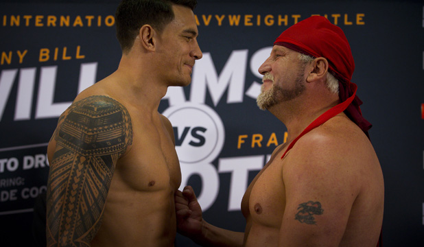 Sonny Bill Williams and Francois Botha stare each other down at the weigh-in.