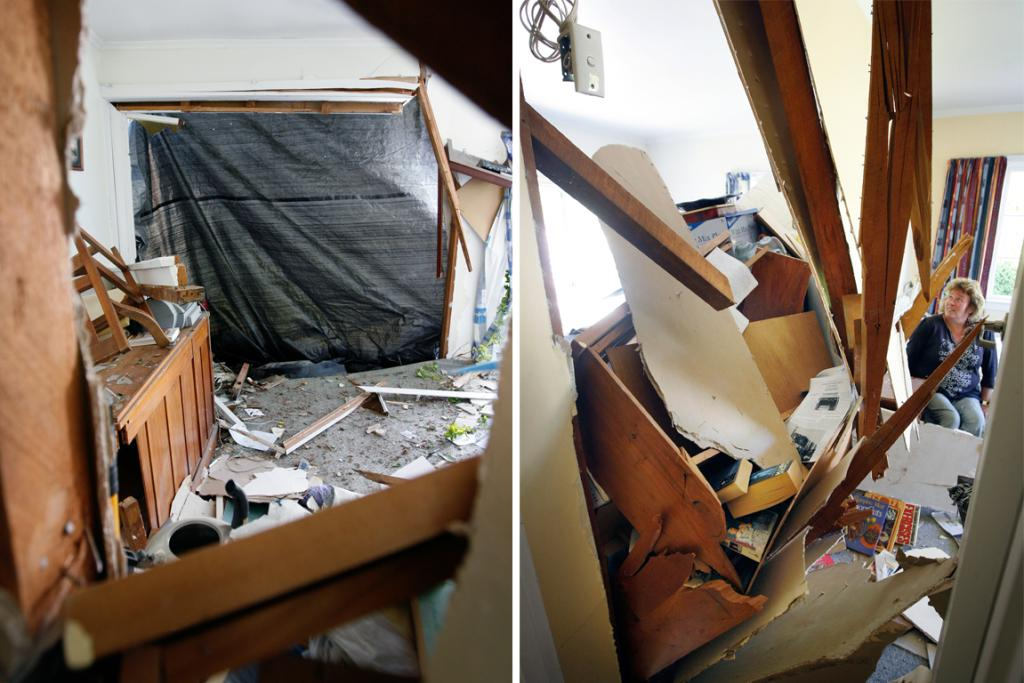 LOUD ENTRANCE: Fiona Hislop woke up to a car crashing through her King St house in Waimate early yesterday morning. She is pictured here on her bed, where she was sleeping as the car came through the wall.