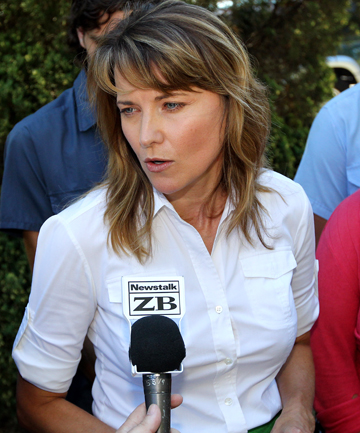 Lucy Lawless talks to media after being sentenced in the New Plymouth District Court yesterday.