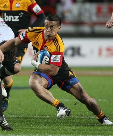 FLEET-FOOTED: Chiefs utility Tim Nanai-Williams looks to evade a tackle during last season's Super Rugby final victory over the Sharks at Waikato Stadium.