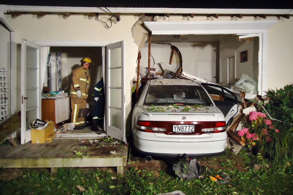 WAKE UP CALL: This photo was taken at 1.37am on Thursday after a car crashed through Fiona Hislop's King St house in Waimate.