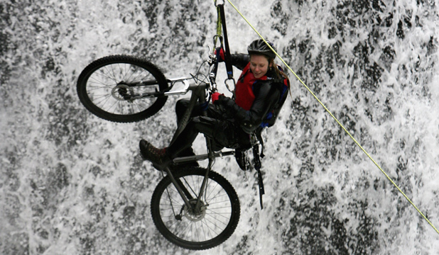 THINK TWICE: The biggest danger is probably you. You might want to reconsider before you attempt to dive off rocks, run with bulls or jump with a mountain bike off a forty-five foot high water fall.